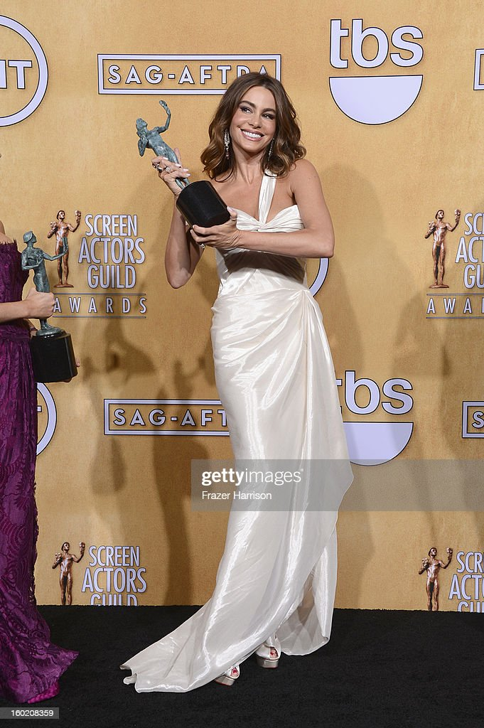 Sofia Vergara, one of the winners of Outstanding Performance by an Ensemble in a Comedy Series for 'Modern Family,' poses in the press room during the 19th Annual Screen Actors Guild Awards held at The Shrine Auditorium on January 27, 2013 in Los Angeles, California.