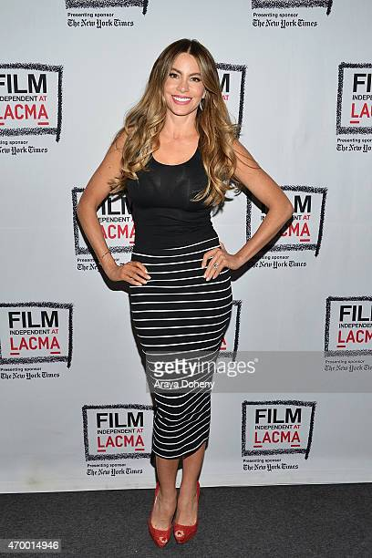 Sofia Vergara performs at the Film Independent at LACMA Live Read of 'Major League' at Bing Theatre At LACMA on April 16 2015 in Los Angeles...