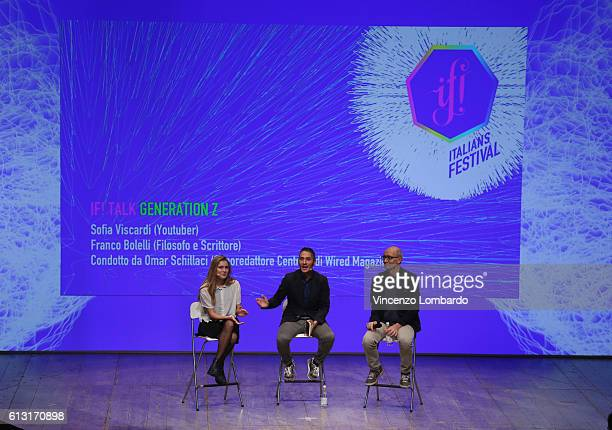 Sofia Viscardi Omar Schillaci and Franco Bolelli speak onstage during the IF Italians Festival 2016 at Franco Parenti Theater on October 7 2016 in...