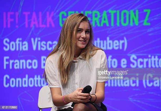 Sofia Viscardi speaks onstage during the IF Italians Festival 2016 at Franco Parenti Theater on October 7 2016 in Milan Italy