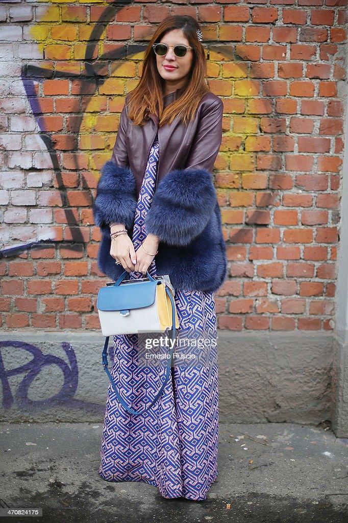 Sofia wears Fendi bag outside the Fendi Fashion Show on day 2 of Milan Fashion Week Womenswear Autumn/Winter 2014 on February 20, 2014 in Milan, Italy.