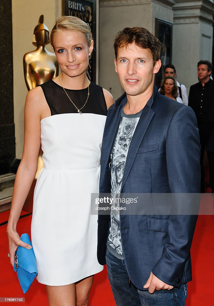 Sofia Wellesley and <a gi-track='captionPersonalityLinkClicked' href=/galleries/search?phrase=James+Blunt&family=editorial&specificpeople=209243 ng-click='$event.stopPropagation()'>James Blunt</a> arrive at Brits Icon Awards honouring Sir Elton John at London Palladium on September 2, 2013 in London, England.