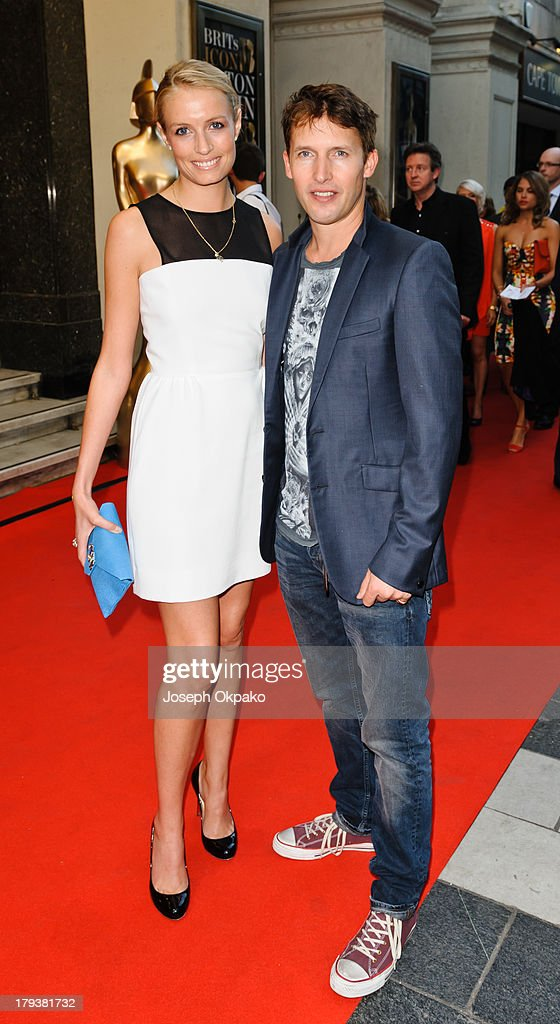 Sofia Wellesley and James Blunt arrives at Brits Icon Awards honouring Sir Elton John at London Palladium on September 2, 2013 in London, England.
