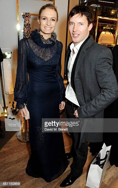 Sofia Wellesley and James Blunt attend the Furla flagship store reopening on November 21 2013 in London England