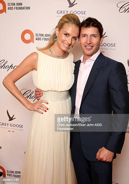 Sofia Wellesley wearing Cortana and James Blunt attend the Woodside End of Summer party to benefit the Elton John AIDS Foundation sponsored by...