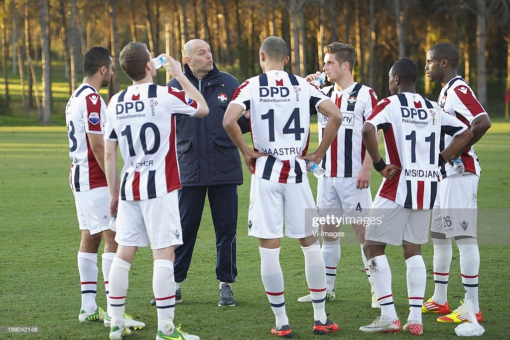 Sofian Akouili of Willem II, Mark Hocher of Willem II, coach Jurgen Streppel of Willem II, Philipp Haastrup of Willem II, Jordens Peters of Willem II, Virgil Misidjan of Willem II, Sanny Monteiro of Willem II during the match between Willem II and Karabukspor on January 10, 2013 at Belek, Turkey.