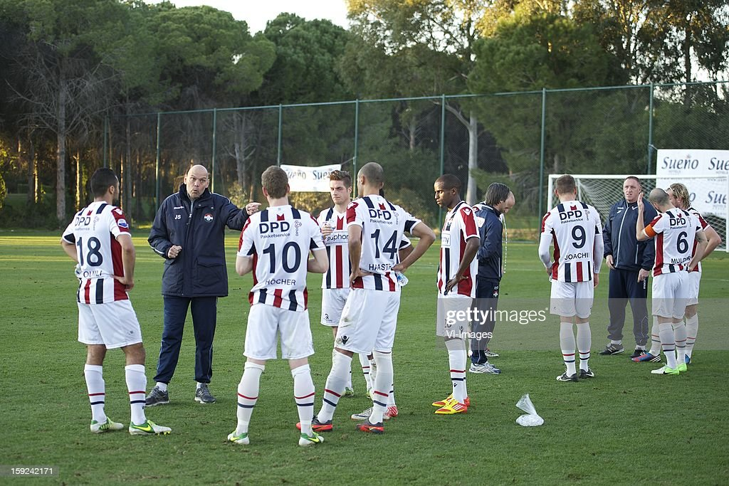 Sofian Akouili of Willem II, Mark Hocher of Willem II, coach Jurgen Streppel of Willem II, Philipp Haastrup of Willem II, Jordens Peters of Willem II, Virgil Misidjan of Willem II, Sanny Monteiro of Willem II, assistant trainer Dirk Jan Derksen, Danny Guijt of Willem II, Aurelien Joachim of Willem II, assistant trainer John Feskens of Willem II, Hans Mulder of Willem II, Niek Vossebelt of Willem II during the match between Willem II and Karabukspor on January 10, 2013 at Belek, Turkey.