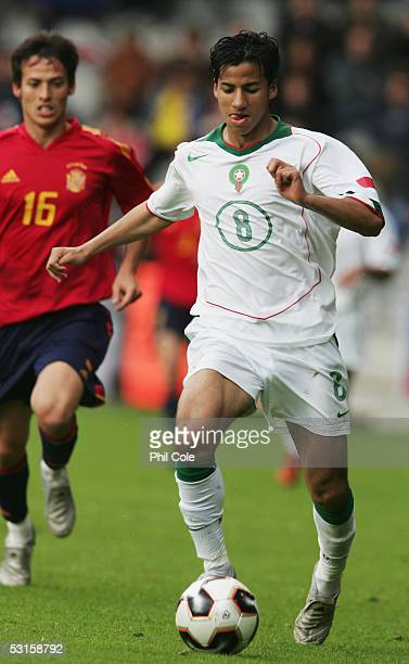 Sofian Benzouien of Morocco in action during the FIFA World Youth Championship match between Spain and Morocco held at the Vijverberg Stadium on June...