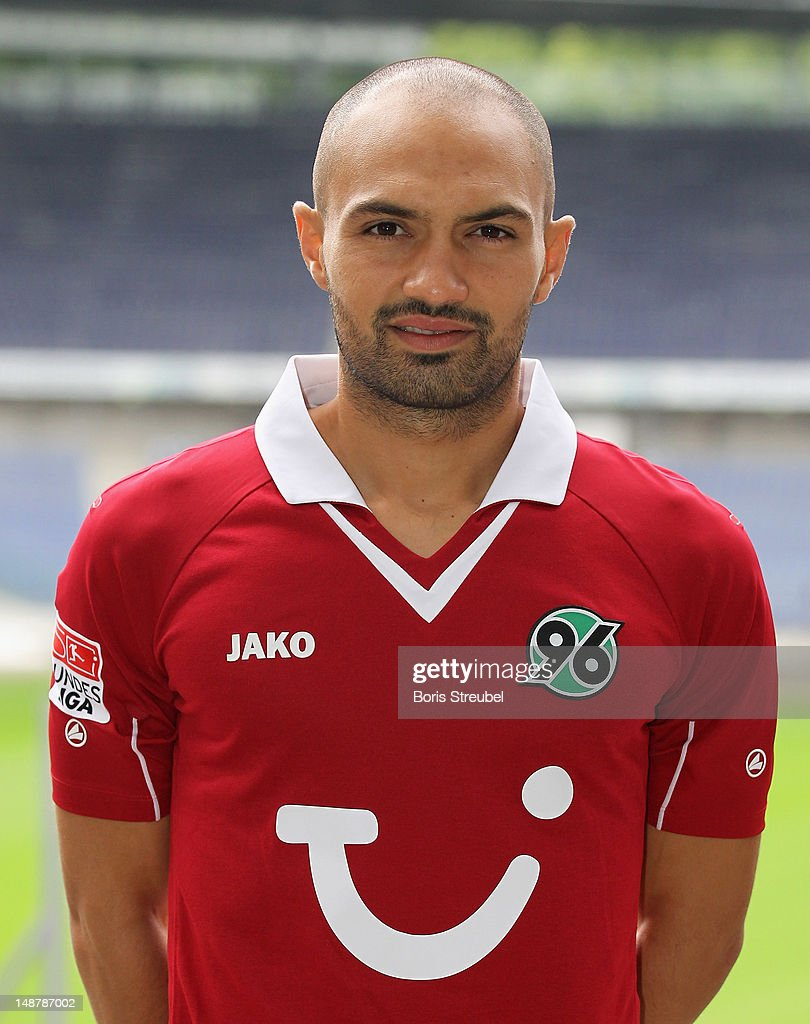 Sofian Chahed of Hannover 96 poses during the Bundesliga team presentation of Hannover 96 at AWD Arena on July 19 2012 in Hannover Germany
