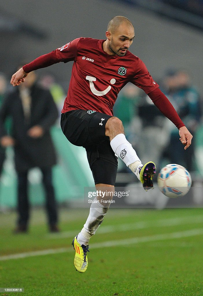 Sofian Chahed of Hannover in action during the Bundesliga match between Hannover 96 and Bayer 04 Leverkusen at AWD Arena on December 10 2011 in...
