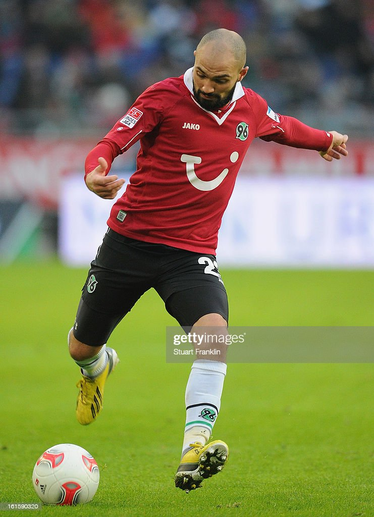 Sofian Chahed of Hannover in action during the Bundesliga match between Hannover 96 and TSG 1899 Hoffenheim at AWD Arena on February 9 2013 in...