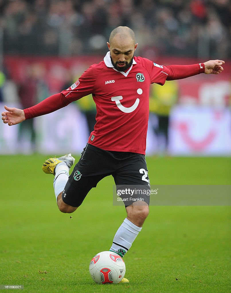 Sofian Chahed of Hannover in action during the Bundesliga match between Hannover 96 and TSG 1899 Hoffenheim at AWD Arena on February 9, 2013 in Hannover, Germany.