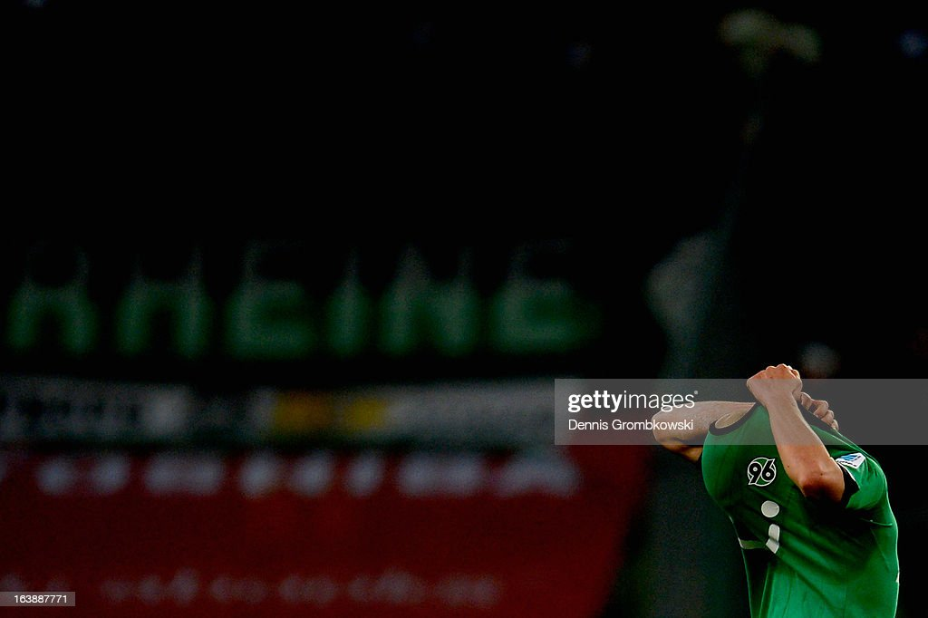 Sofian Chahed of Hannover reacts after the Bundesliga match between VfL Borussia Moenchengladbach and Hannover 96 at Borussia Park Stadium on March 17, 2013 in Moenchengladbach, Germany.
