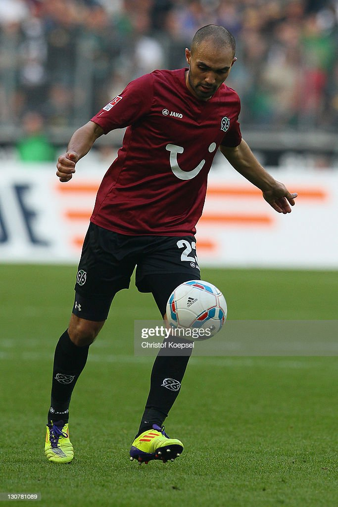 Sofian Chahed of Hannover runs with the ball during the Bundesliga match between Borussia Moenchengladbach and Hannover 96 at Borussia Park Stadium...