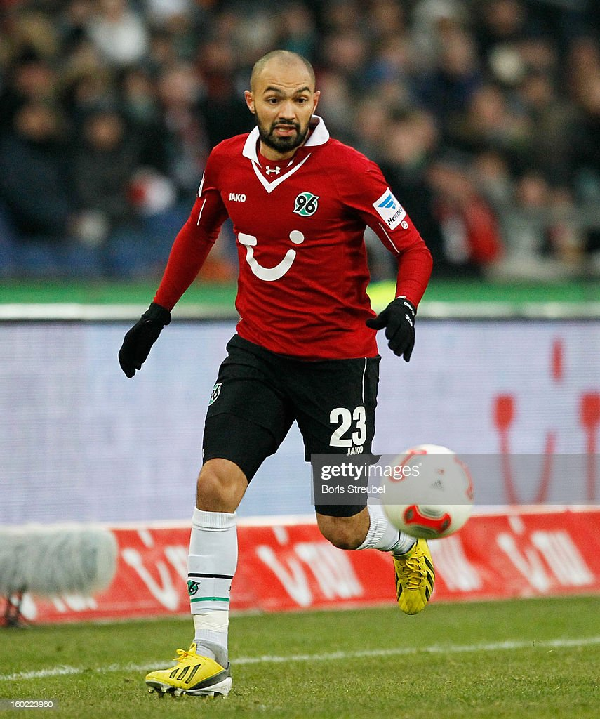 Sofian Chahed of Hannover runs with the ball during the Bundesliga match between Hannover 96 and VfL Wolfsburg at AWD Arena on January 26 2013 in...