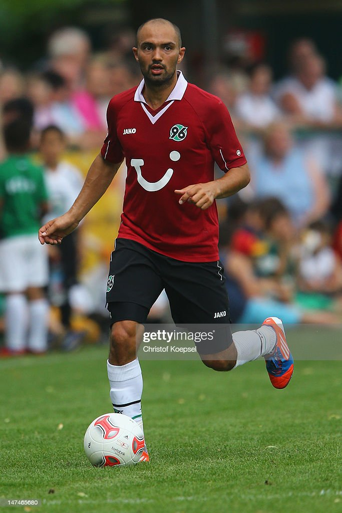 Sofian Chahed of Hannover runs with the ball during the friendly match between RSV Goettingen 05 and Hannover 96 at Stadium Am Rehbach on June 30, 2012 in Goettingen, Germany.