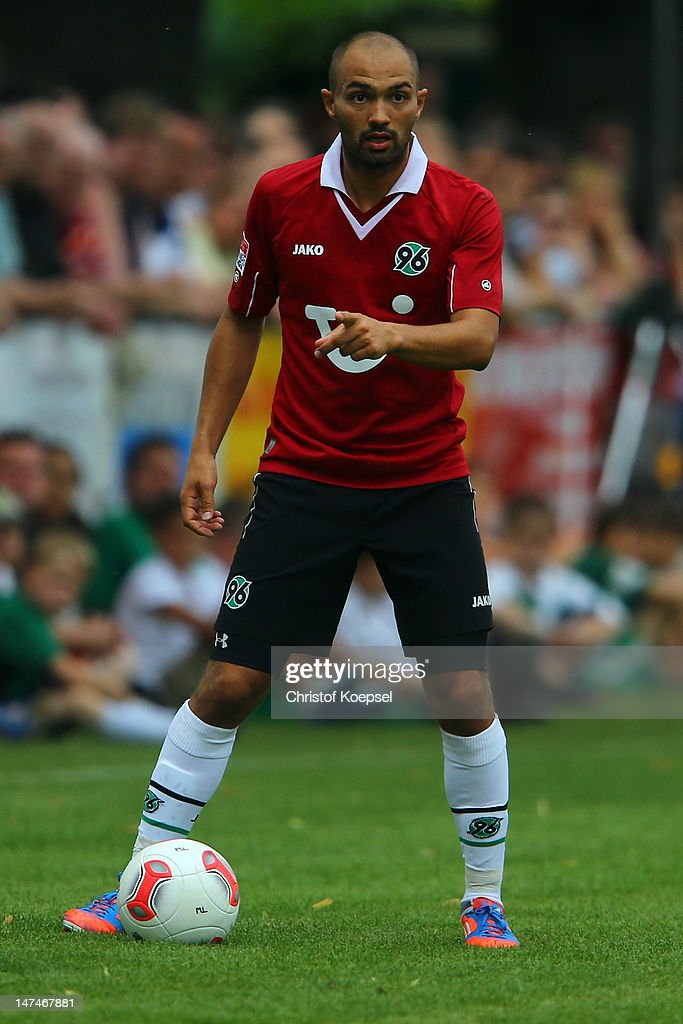 Sofian Chahed of Hannover runs with the ball during the friendly match between RSV Goettingen 05 and Hannover 96 at Stadium Am Rehbach on June 30...