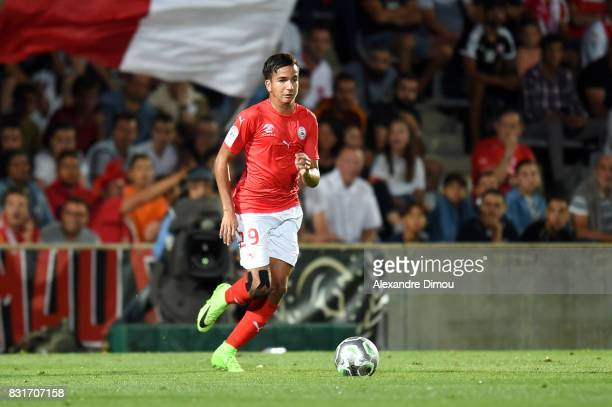 Sofiane Alakouch of Nimes during the Ligue 2 match between Nimes Olympique and As Nancy Lorraine at Stade des Costieres on August 14 2017 in Nimes