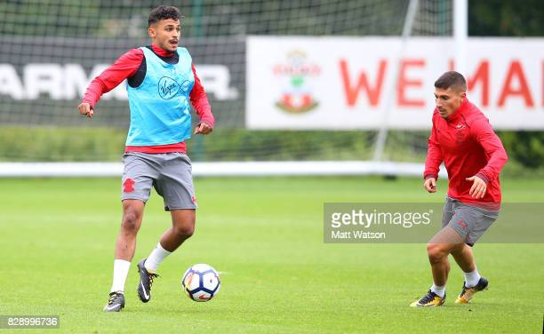 Sofiane Boufal and Jeremy Pied during a Southampton FC training session at the Staplewood Campus on August 9 2017 in Southampton England