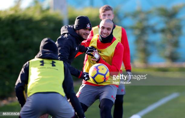 Sofiane Boufal and Oriol Romeu during a Southampton FC training session at the Staplewood Campus on December 1 2017 in Southampton England
