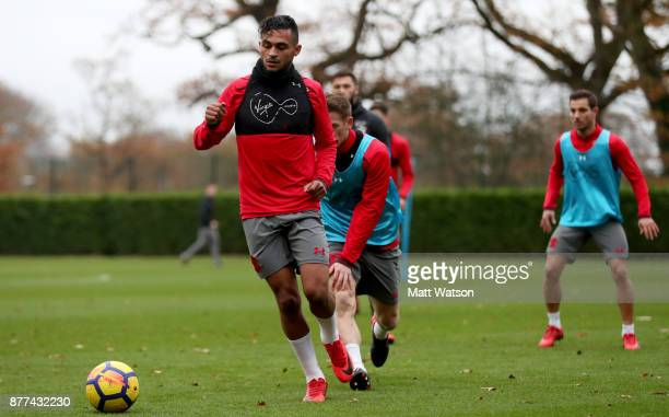 Sofiane Boufal during a Southampton FC training session at the Staplewood Campus on November 21 2017 in Southampton England