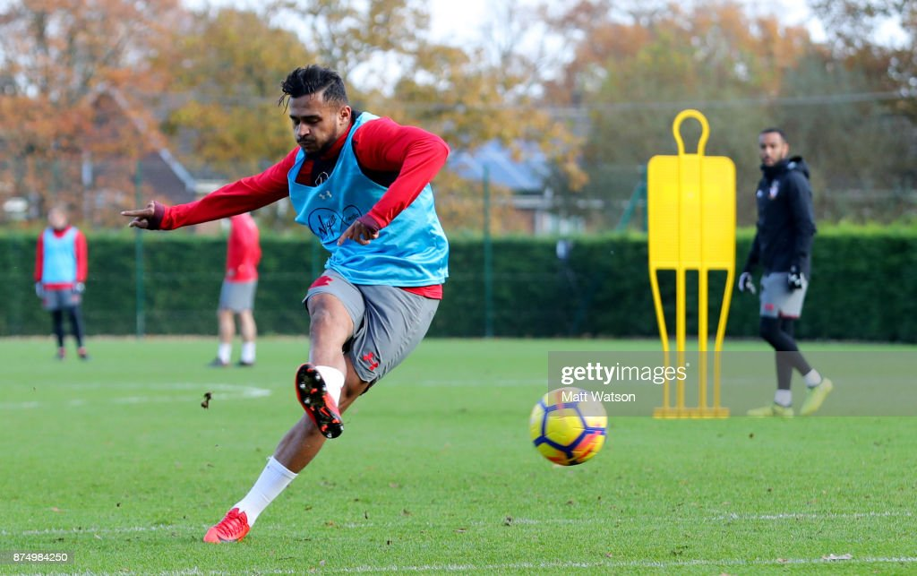 Sofiane Boufal during a Southmpton FC training session at the Staplewood Campus on November 16, 2017 in Southampton, England.