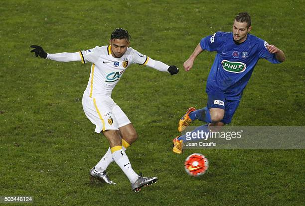 Sofiane Boufal of Lille in action during the French Cup match between Amiens AC and Lille LOSC at Stade de la Licorne on January 3 2016 in Amiens...
