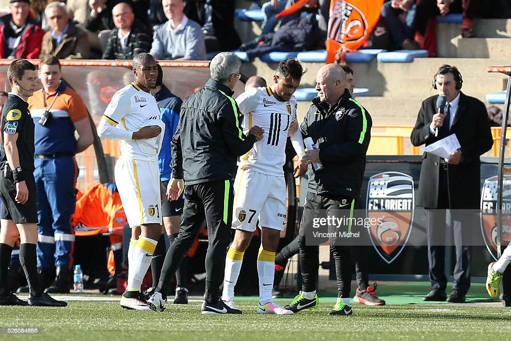Sofiane Boufal of Lille injured during the French Ligue 1 match between Fc Lorient and Lille OSC at Stade du Moustoir on April 30, 2016 in Lorient, France.