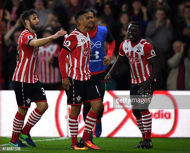 Sofiane Boufal of Southampton celebrates scoring his sides first goal with Sam McQueen of Southampton and Olufela Olomola of Southampton during the...