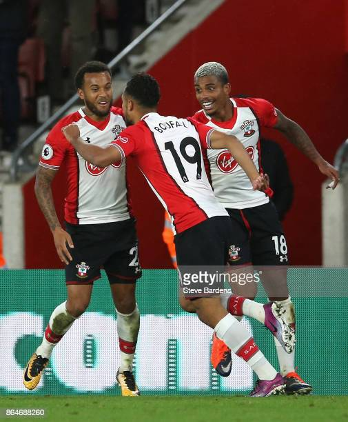 Sofiane Boufal of Southampton celebrates scoring his sides first goal with teammates during the Premier League match between Southampton and West...