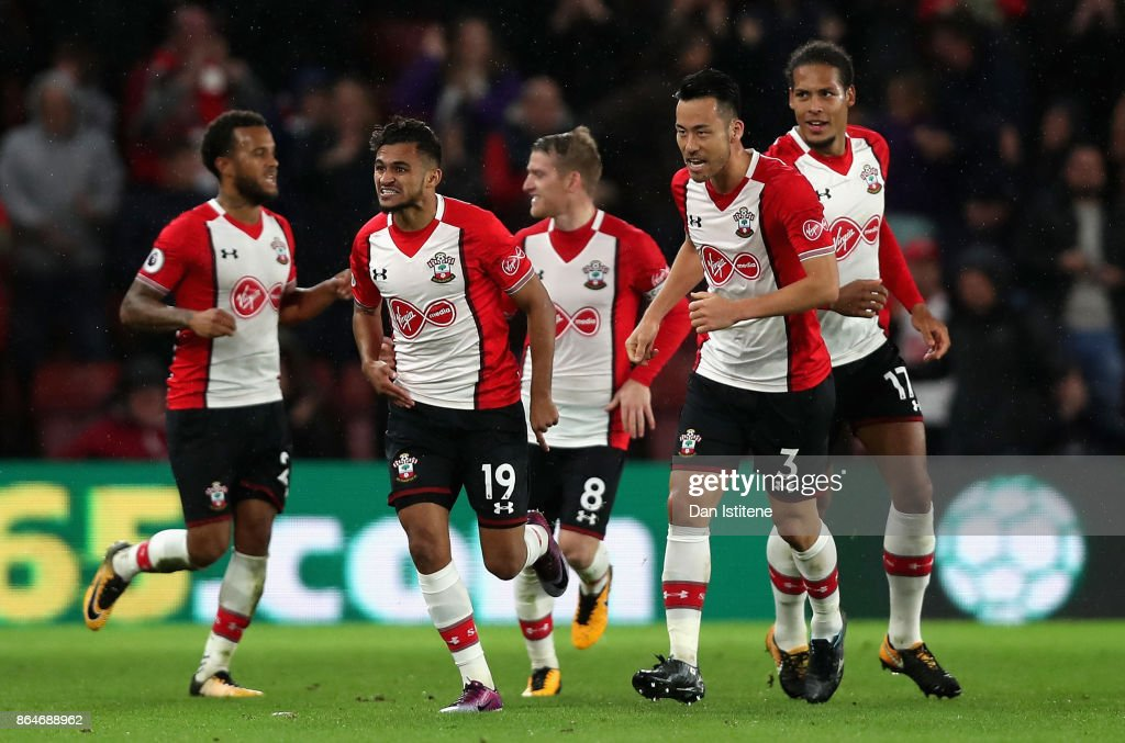 Sofiane Boufal of Southampton celebrates scoring his sides first goal with teammates during the Premier League match between Southampton and West Bromwich Albion at St Mary's Stadium on October 21, 2017 in Southampton, England.