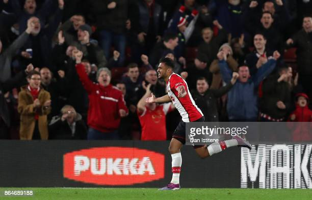 Sofiane Boufal of Southampton celebrates scoring his sides first goal during the Premier League match between Southampton and West Bromwich Albion at...