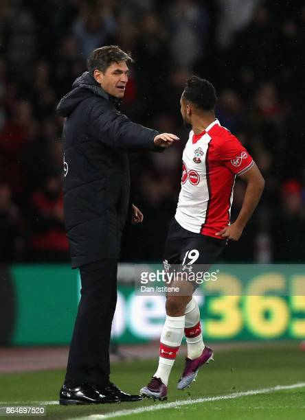 Sofiane Boufal of Southampton celebrates scoring his sides first goal with Mauricio Pellegrino Manager of Southampton during the Premier League match...
