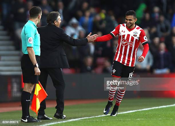 Sofiane Boufal of Southampton celebrates scoriong his sides first goal with Claude Puel Manager of Southampton during the Premier League match...