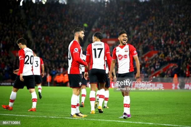 Sofiane Boufal of Southampton celebrates towards the management team after scoring in the second half during the Premier League match between...