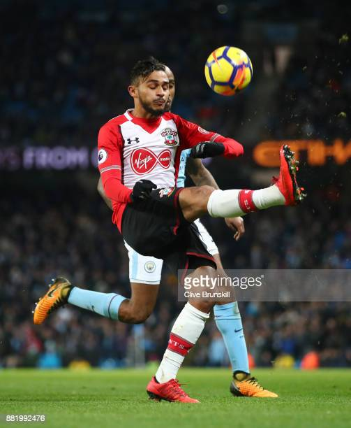 Sofiane Boufal of Southampton clears the ball during the Premier League match between Manchester City and Southampton at Etihad Stadium on November...