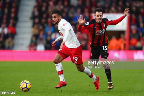 Sofiane Boufal of Southampton gets away from Adam Smith of AFC Bournemouth during the Premier League match between AFC Bournemouth and Southampton at...