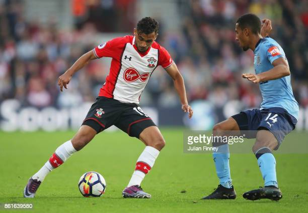 Sofiane Boufal of Southampton is faced by Isaac Hayden of Newcastle United during the Premier League match between Southampton and Newcastle United...