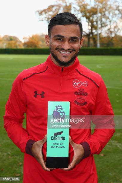 Sofiane Boufal of Southampton is presented with the Carling Premier League Awards Goal of the Month award for October at Staplewood Complex on...