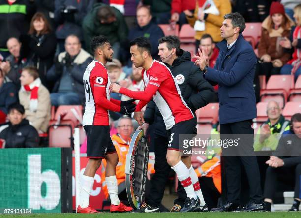 Sofiane Boufal of Southampton is subbed for Maya Yoshida of Southampton during the Premier League match between Southampton and Everton at St Mary's...