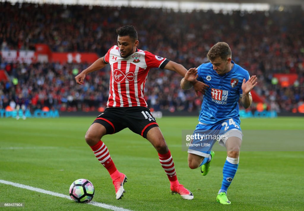 Sofiane Boufal of Southampton is tackled by Ryan Fraser AFC Bournemouth during the Premier League match between Southampton and AFC Bournemouth at St Mary's Stadium on April 1, 2017 in Southampton, England.