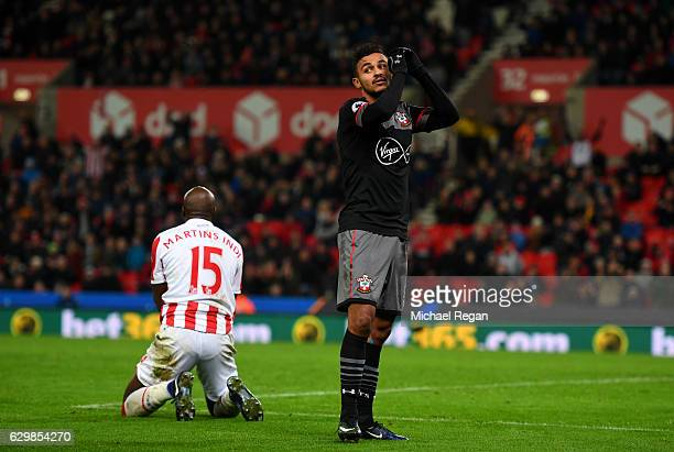 Sofiane Boufal of Southampton reacts during the Premier League match between Stoke City and Southampton at Bet365 Stadium on December 14 2016 in...