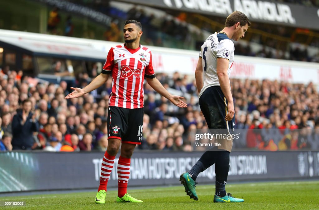 Sofiane Boufal of Southampton (L) reacts during the Premier League match between Tottenham Hotspur and Southampton at White Hart Lane on March 19, 2017 in London, England.