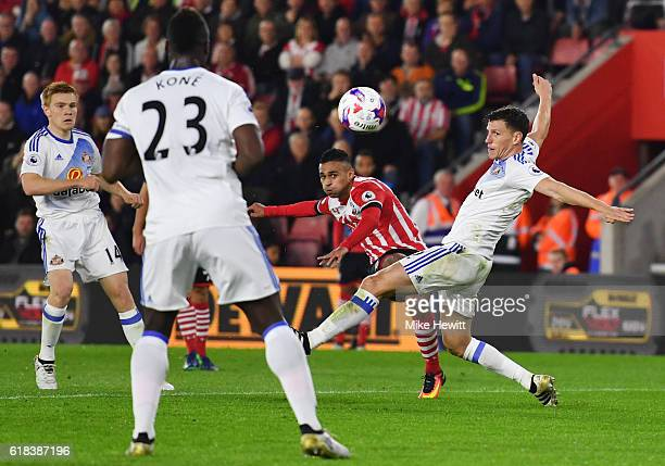 Sofiane Boufal of Southampton scores his sides first goal during the EFL Cup fourth round match between Southampton and Sunderland at St Mary's...