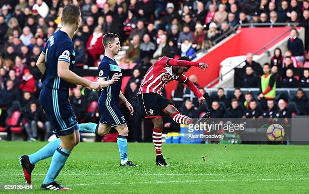 Sofiane Boufal of Southampton scores his side's first goal during the Premier League match between Southampton and Middlesbrough at St Mary's Stadium...