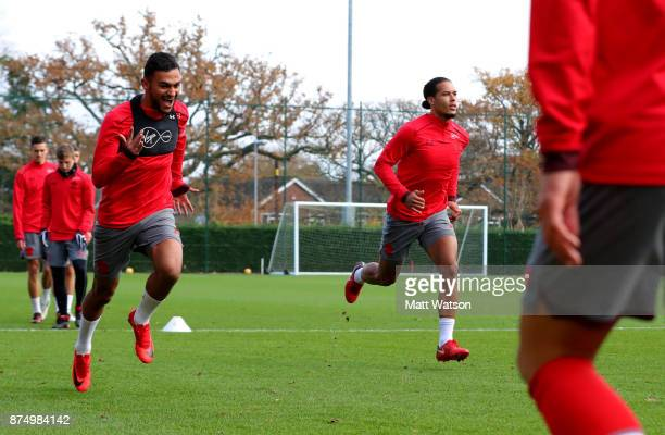 Sofiane Boufl and Virgil Van Dijk during a Southmpton FC training session at the Staplewood Campus on November 16 2017 in Southampton England