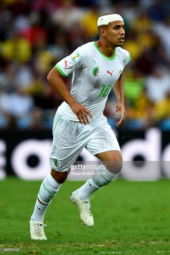 Sofiane Feghouli of Algeria in action with a bandage during the 2014 FIFA World Cup Brazil Group H match between Algeria and Russia at Arena da Baixada on June 26, 2014 in Curitiba, Brazil.