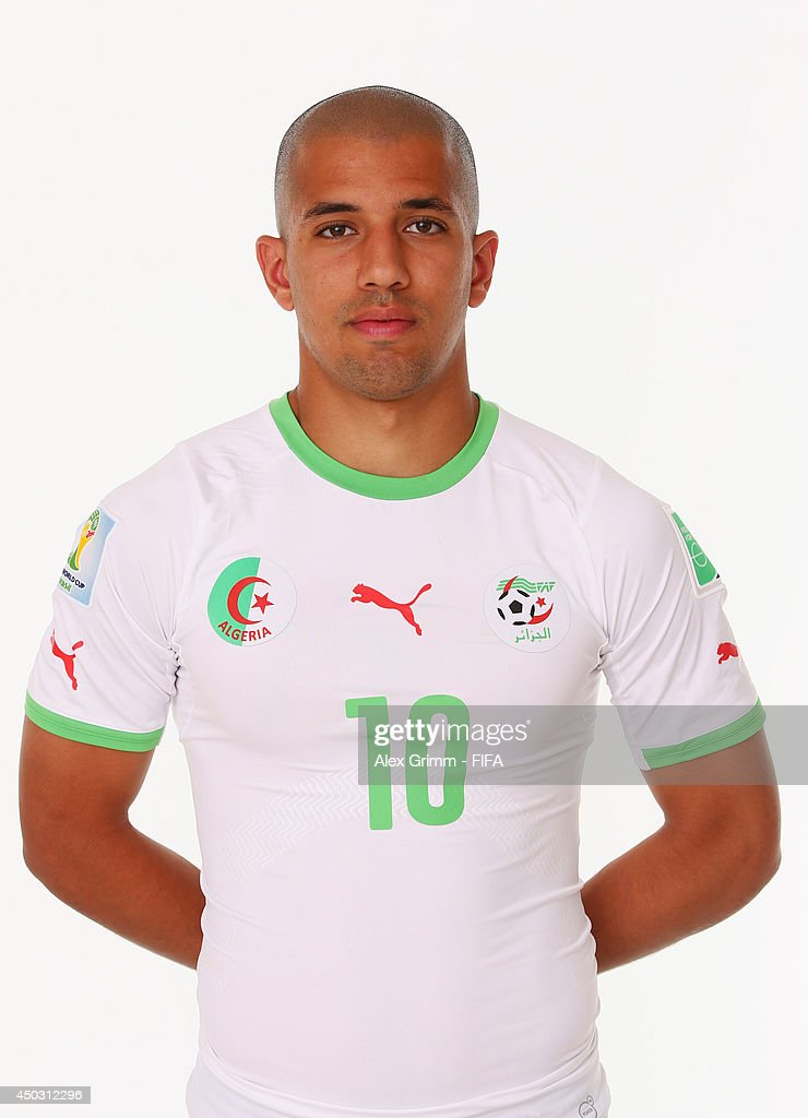 <a gi-track='captionPersonalityLinkClicked' href=/galleries/search?phrase=Sofiane+Feghouli&family=editorial&specificpeople=5485378 ng-click='$event.stopPropagation()'>Sofiane Feghouli</a> of Algeria poses during the official FIFA World Cup 2014 portrait session on June 8, 2014 in Sao Paulo, Brazil.