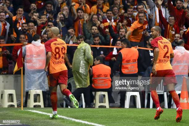 Sofiane Feghouli of Galatasaray celebrates after scoring a goal during the Turkish Super Lig soccer match between Galatasaray and Kardemir...