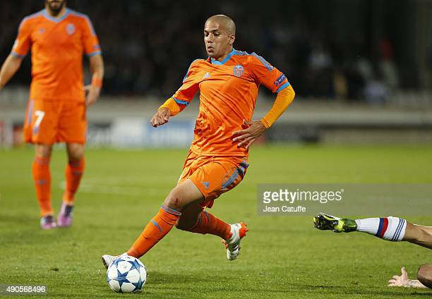 Sofiane Feghouli of Valencia CF in action during the UEFA Champions league match between Olympique Lyonnais and Valencia CF at Stade de Gerland on...